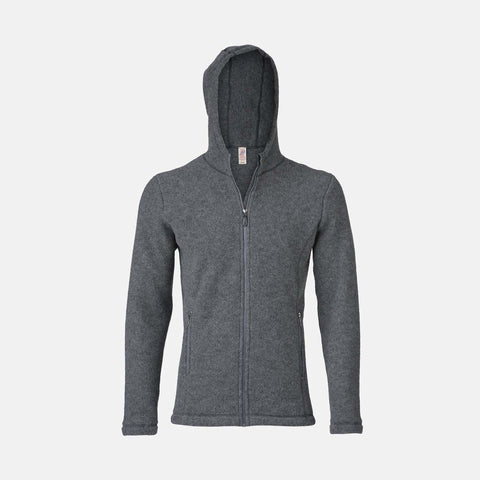Unisex 100% Organic Merino Wool Fleece Jacket - Slate