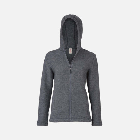 Women's 100% Organic Merino Wool Fleece Jacket - Slate