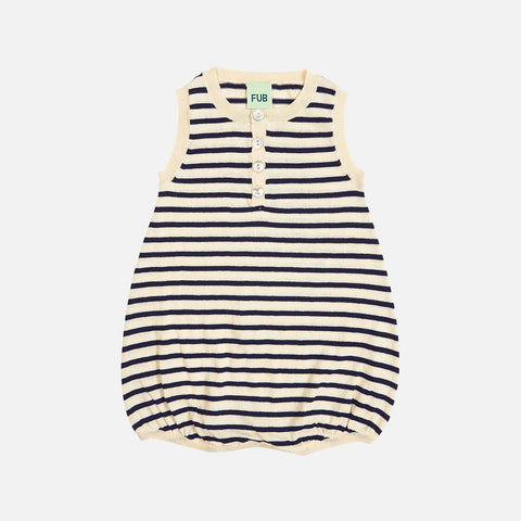 Organic Cotton Striped Romper - Ecru/Navy - 3-24m