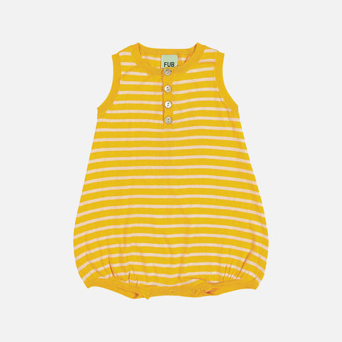 Organic Cotton Striped Romper - Yellow/Ecru - 0-24m