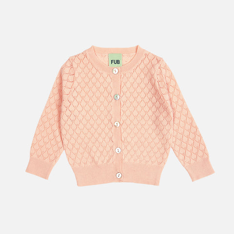 Organic Cotton Baby Pointelle Cardigan - Blush - 0-18m