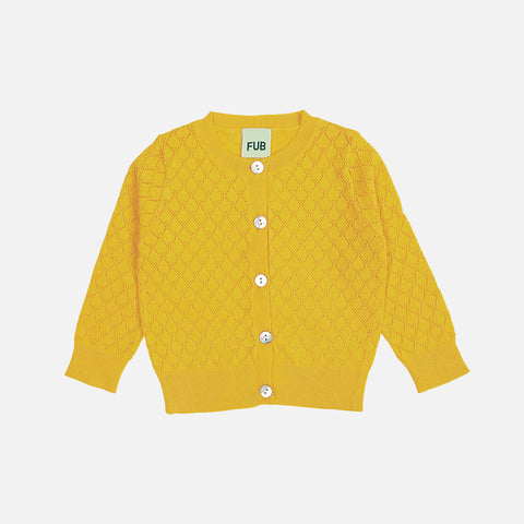 Organic Cotton Baby Pointelle Cardigan - Yellow - 6-18m