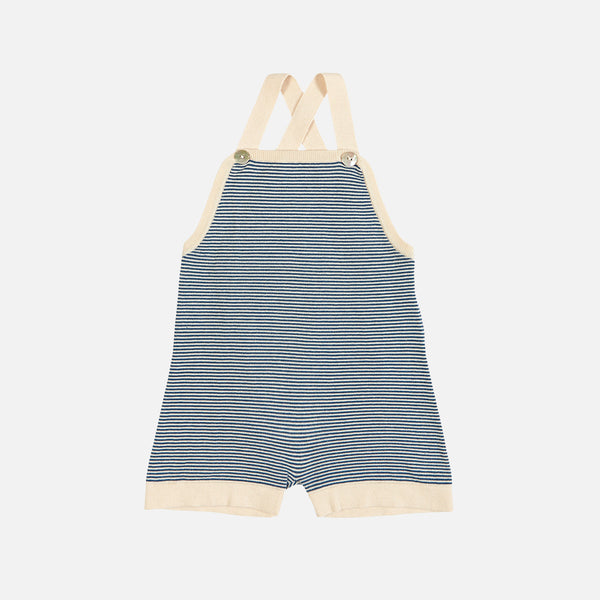 Organic Cotton Striped Overall Shorts - Ecru/Denim - 0-24m