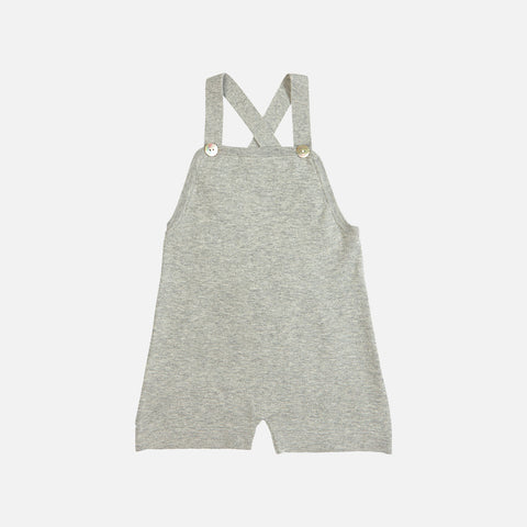 Organic Cotton Overall Shorts - Light Grey - 9-24m