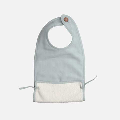 Organic Cotton Muslin/Terry Feeding Bib - Foggy Blue