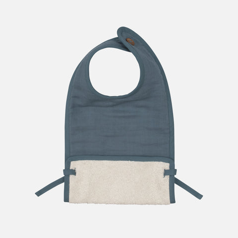 Organic Cotton Muslin/Terry Feeding Bib - Blue Spruce