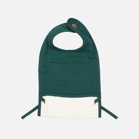 Organic Cotton Muslin/Terry Feeding Bib - Evergreen
