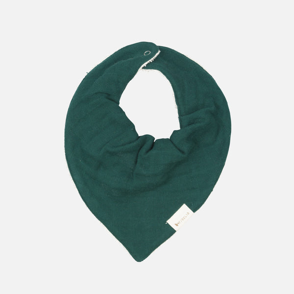 Organic Cotton Muslin/Terry Bandana Bib - Evergreen