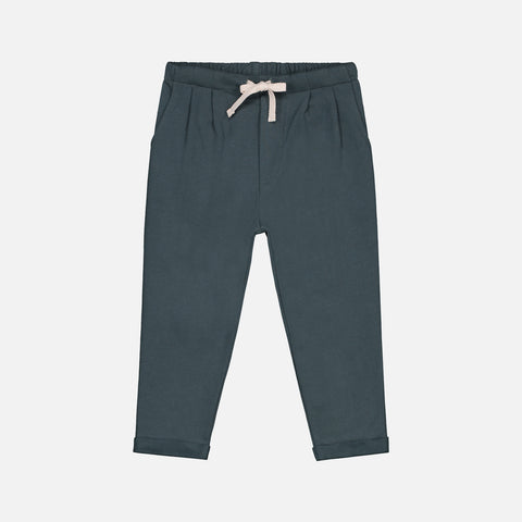 Organic Cotton Pleated Trousers - Blue Grey - 1-10y