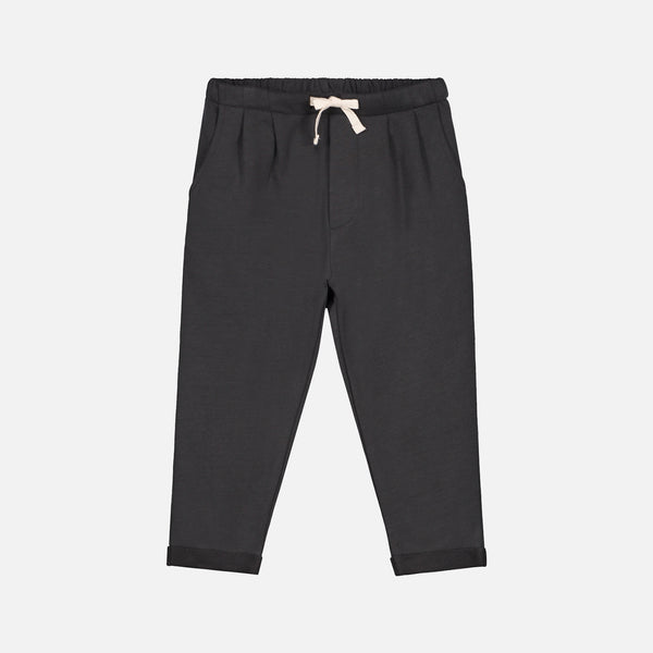Organic Cotton Pleated Trousers - Nearly Black - 1-10y