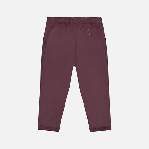 Organic Cotton Pleated Trousers - Plum - 1-10y