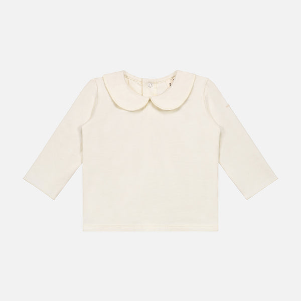 Organic Cotton Baby Collar Tee - Cream - 1-9m