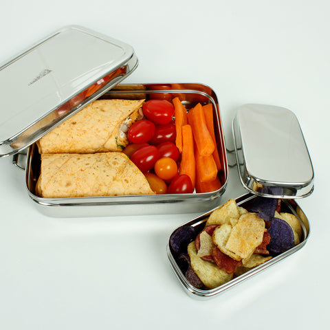 Stainless Steel Large Rectangle Lunch Box with Mini