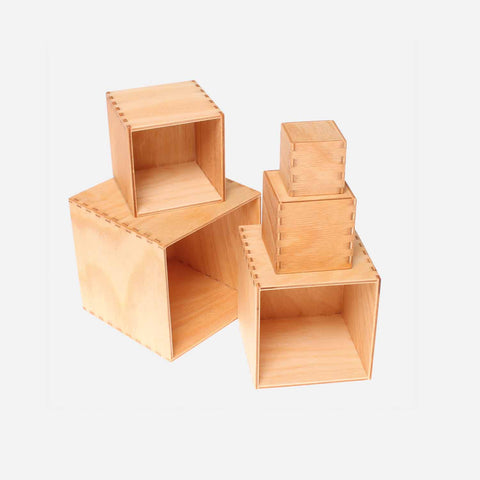 Small Set of Boxes Natural Wood
