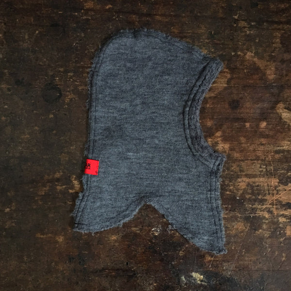 Organic Merino Wool Baby Balaclava Raw Edges - Grey - 6-18m