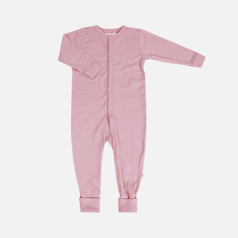 Merino Wool Pyjamas - Old Rose - 0m-3y