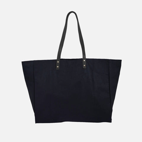 Waxed Cotton Giga Tote - Navy