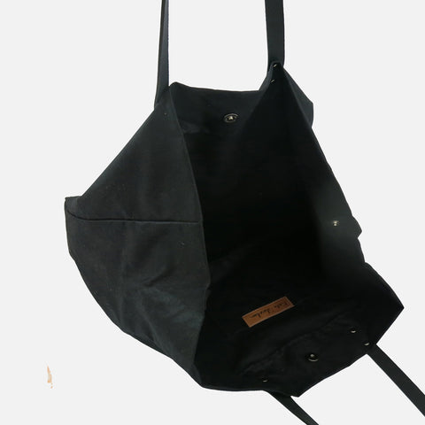 Waxed Cotton Giga Tote - Black