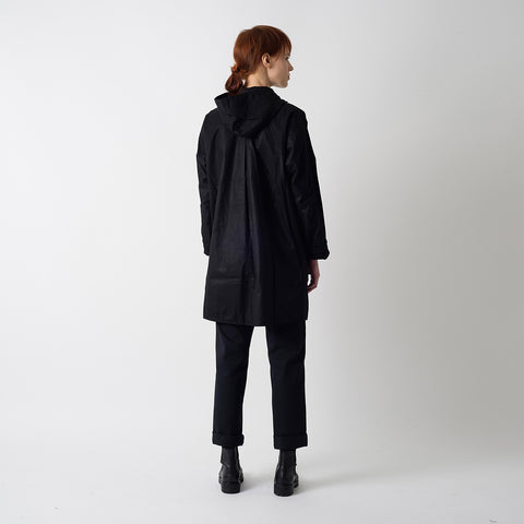 Waxed Cotton Batwing Coat - Black & Black