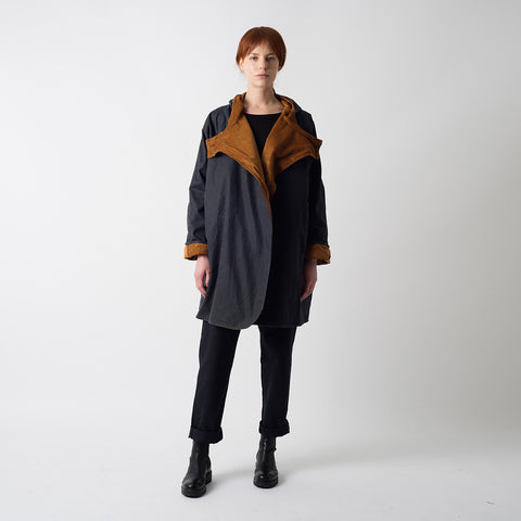 Waxed Cotton Batwing Coat - Navy & Cinnamon