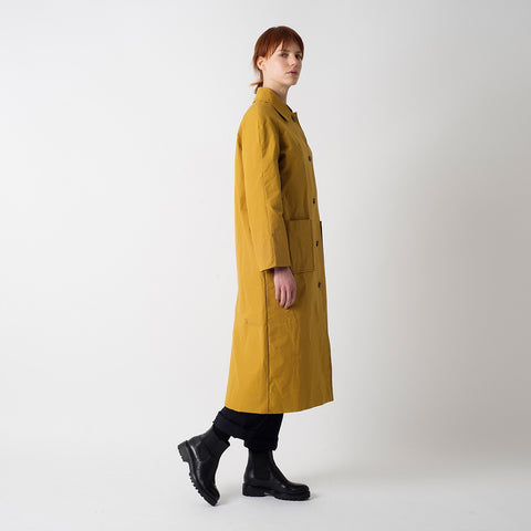 Waxed Cotton Louis Coat - Cumin