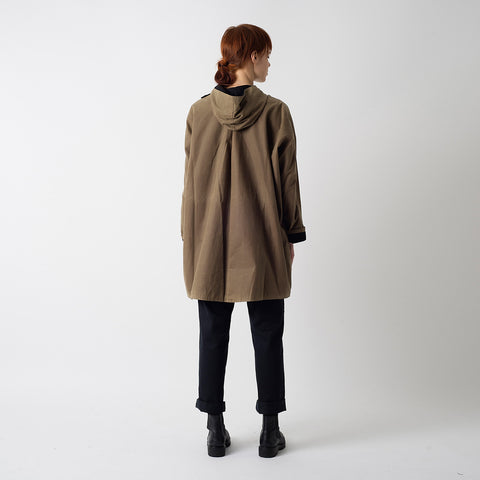 Waxed Cotton Batwing Coat - Sand & Black