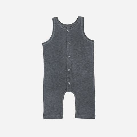Cotton Baby Buttoned Overall - Charcoal - 6m-3y