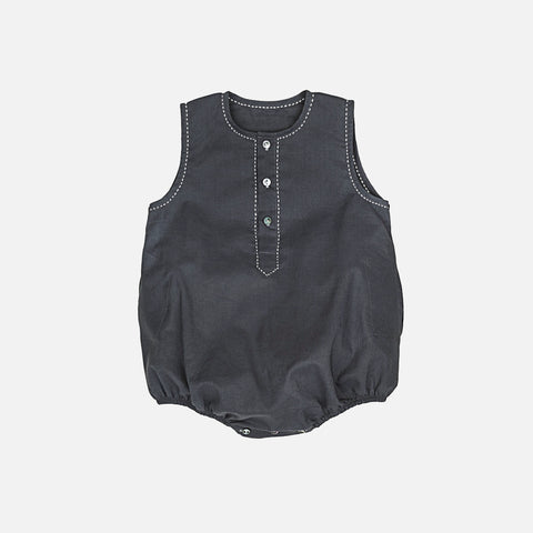 Cotton Kanu Romper - Charcoal - 6m-3y
