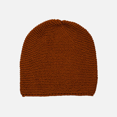 Hand Knit Garter Stitch Cap - Rust Brown - 6-12y
