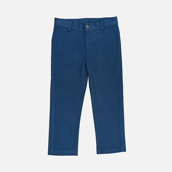 Cotton Leo Trousers - Blue - 3-10y