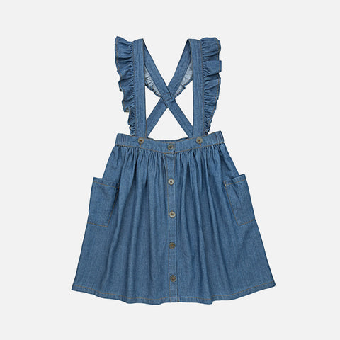 Organic Cotton Juliette Suspender Skirt - Denim - 3-10y