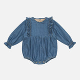 Organic Cotton Isadora Romper - Denim - 6m-2y
