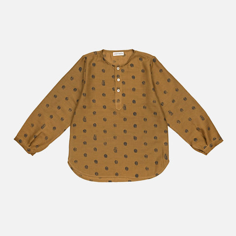 Cotton Tulsi Hand-Block Shirt - Ochre Hedgehogs - 1-10y
