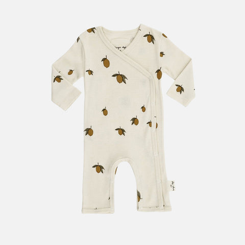 Organic Cotton Newborn Wrap Romper - Lemon Print