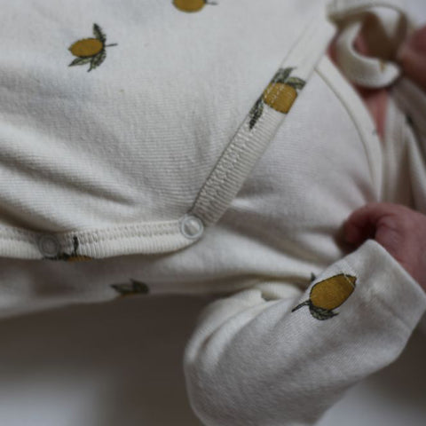 Organic Cotton Newborn Wrap Body - Lemon Print - 1-3m