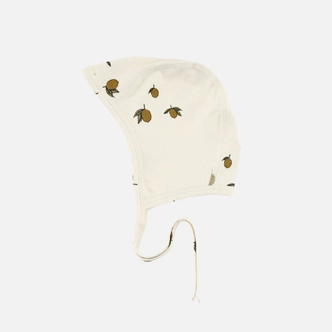 Organic Cotton Newborn Bonnet - Lemon Print - 0-24m