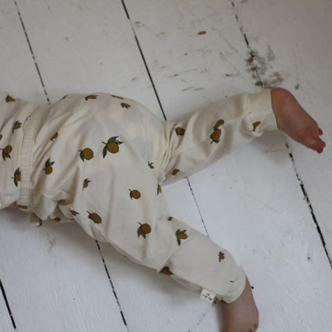 Organic Cotton Newborn Leggings - Lemon Print - Newborn-3m