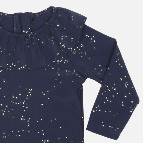 Collar UV Long-Sleeve Swim Top - Navy Etoile Gold - 2-5y