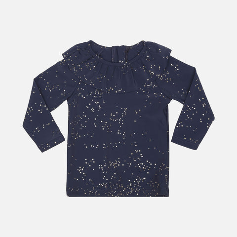 Collar UV Long-Sleeve Swim Top - Navy Etoile Gold - 2-7y