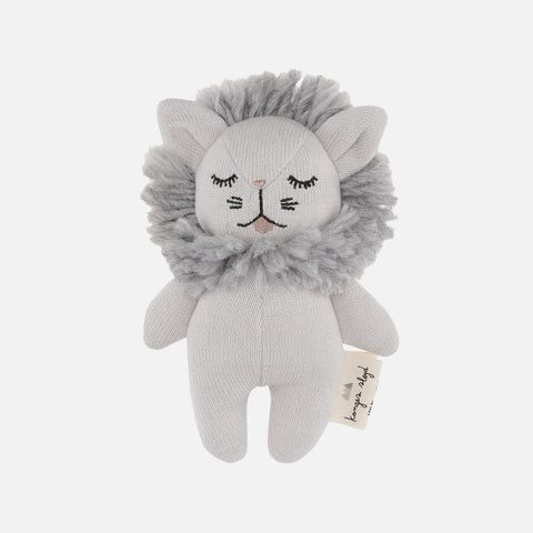 Organic Cotton Mini Rattle Lion - Grey Melange