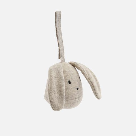 Wool Rabbit Activity Rattle With Strap - Camel