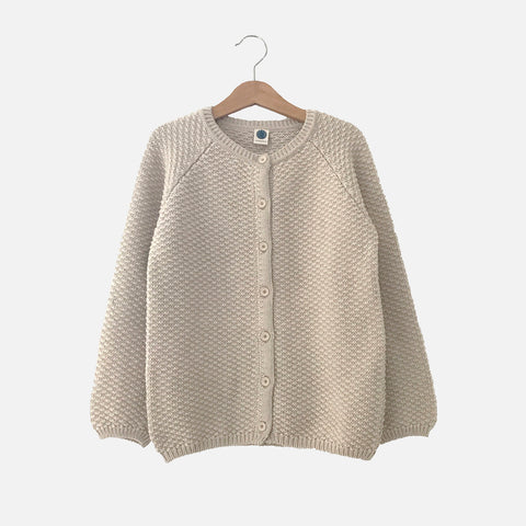 Cotton/Merino Armel Cardigan - Hot Milk - 2-10y