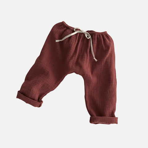 Organic Cotton Baggy Pants - Chestnut - 1-8y