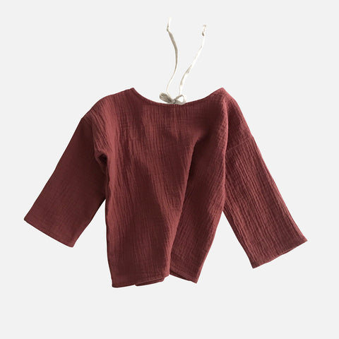 Organic Cotton Oversize Blouse - Chestnut - 1-8y