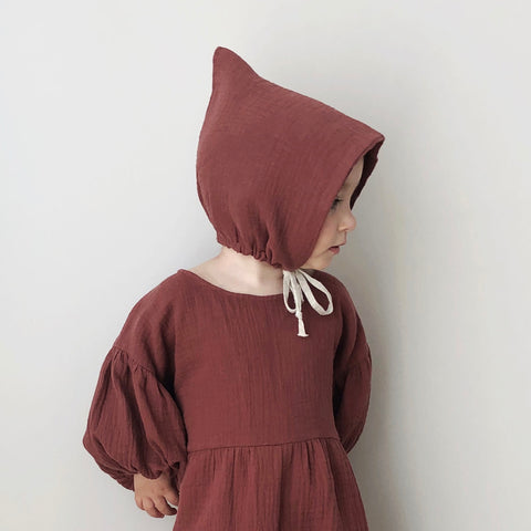 Organic Cotton Pixie Bonnet - Chestnut - 6m-4y
