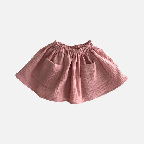 Organic Cotton Pocket Skirt - Rose - 1-8y
