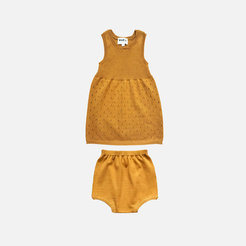 Knitted Cotton Gwen Dress with Bloomers - Bronze - 2-3y
