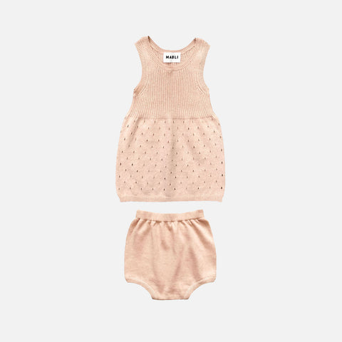 Knitted Cotton Gwen Dress with Bloomers - Pearl - 2-3y