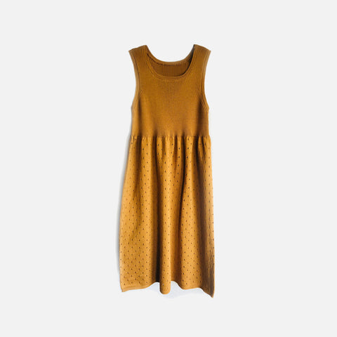 Knitted Cotton Gwen Dress - Bronze - 4-8y