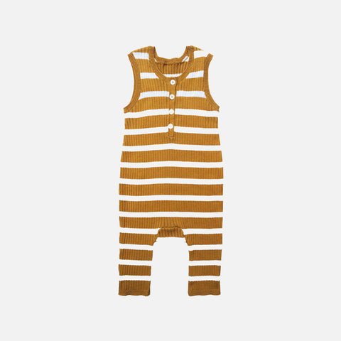 Knitted Cotton Rib Sunsuit Stripe - Bronze/Ecru - 6m-4y